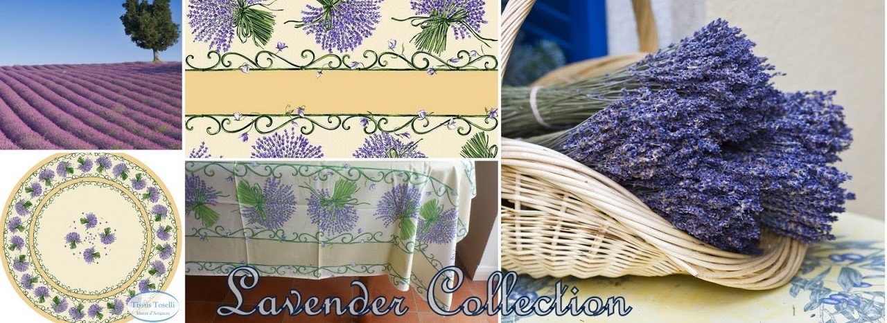 tablecloths with bunches of purple lavender